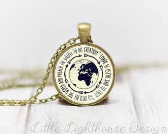 Medium Go Into All The World Pendant Necklace Regions 2 Missions Trip Necklace Christian Pendant Necklace Missionary Gift Inspirational Gift