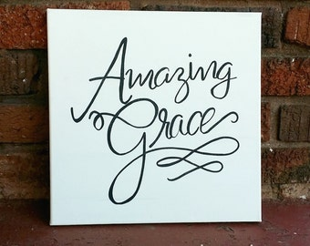 Hand Painted Amazing Grace Canvas
