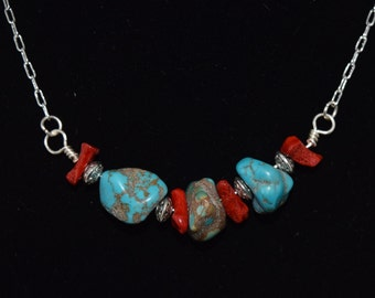 Natural Turquoise, Coral and Silver Necklace