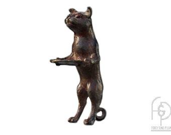 Brass Standing Cat Business Card Holder.
