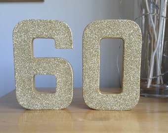 Gold Glitter 60, Paper Mâché Numbers, 60th Birthday Party Decor