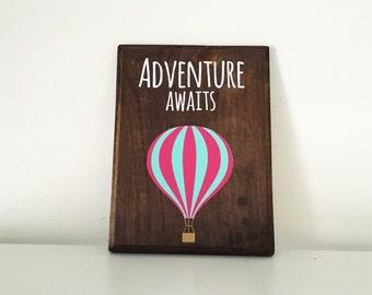 Adventure Awaits Balloon wood sign | hot air balloon | Gallery Wall |