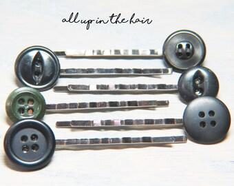 Bobby Pins - Hair Pins - Button Bobby Pins - Button Hair Pins - Black Button Bobby Pins - Stocking Stuffer - Christmas Gift