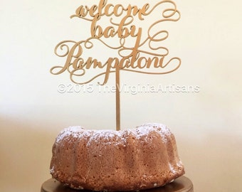 Welcome Baby Cake Topper with Personalized Name. Baby Cake Topper.