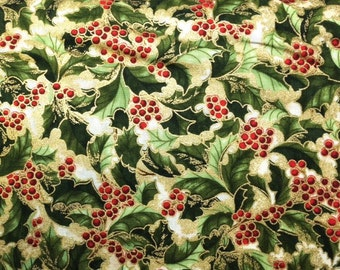 Robert Kaufman HOLLY LEAVES And BERRIES Premium Quality 100% Cotton Fabric - per 1/2 yd