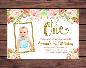 Floral 1st Birthday Invitation Girl, Any Age Light Floral Gold Girl First Photo Birthday Invitation, Pink Floral Gold Printable JPEG 896