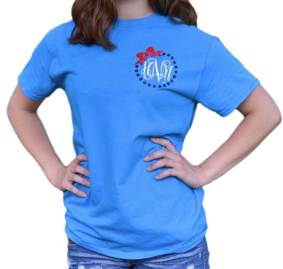 Custom monogram t shirt pocket tee fourth of july shirt for Custom t shirts with pockets