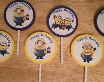 Circular Minion Cupcake Toppers