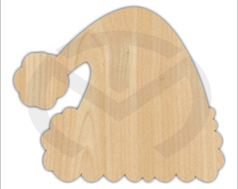 Unfinished Wood Santa Hat Laser Cutout, Wreath Accent, Door Hanger, Ready to Paint & Personalize, Various Sizes