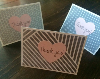 Thank You Cards - Set of 6 (Grey with Heart)