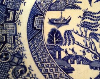"Set/2 Vintage W. Ridgway Blue Willow 9.5"" Dinner Plates"