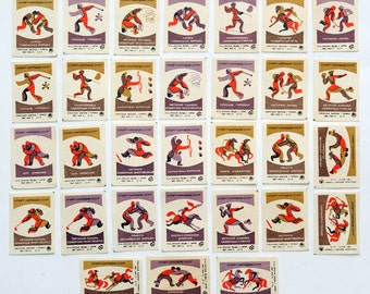 1970s Russia Folk SPORTS of SOVIET NATIONS big set of 31 Matchbox Labels
