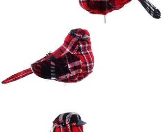 Artificial Birds Nature Craft Supply Holiday Red Plaid Fake Birds Set of 3