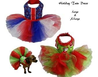 Dog Tutu, Dog Dress Pattern, Dog Clothes Sewing Pattern pdf Tutorial -Holiday Tutu Dress- LARGE & XLARGE