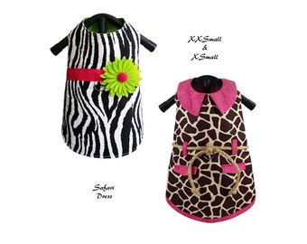 Dog Dress Sewing Pattern PDF, Dog Coat, Dog Clothes -Safari Dress- Size: XXSMALL & XSMALL
