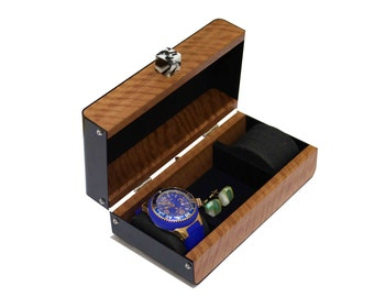 Anniversary Gift Mens Watches box 2 watch pillows cufflinks jewelry storage Wooden jewelry box black
