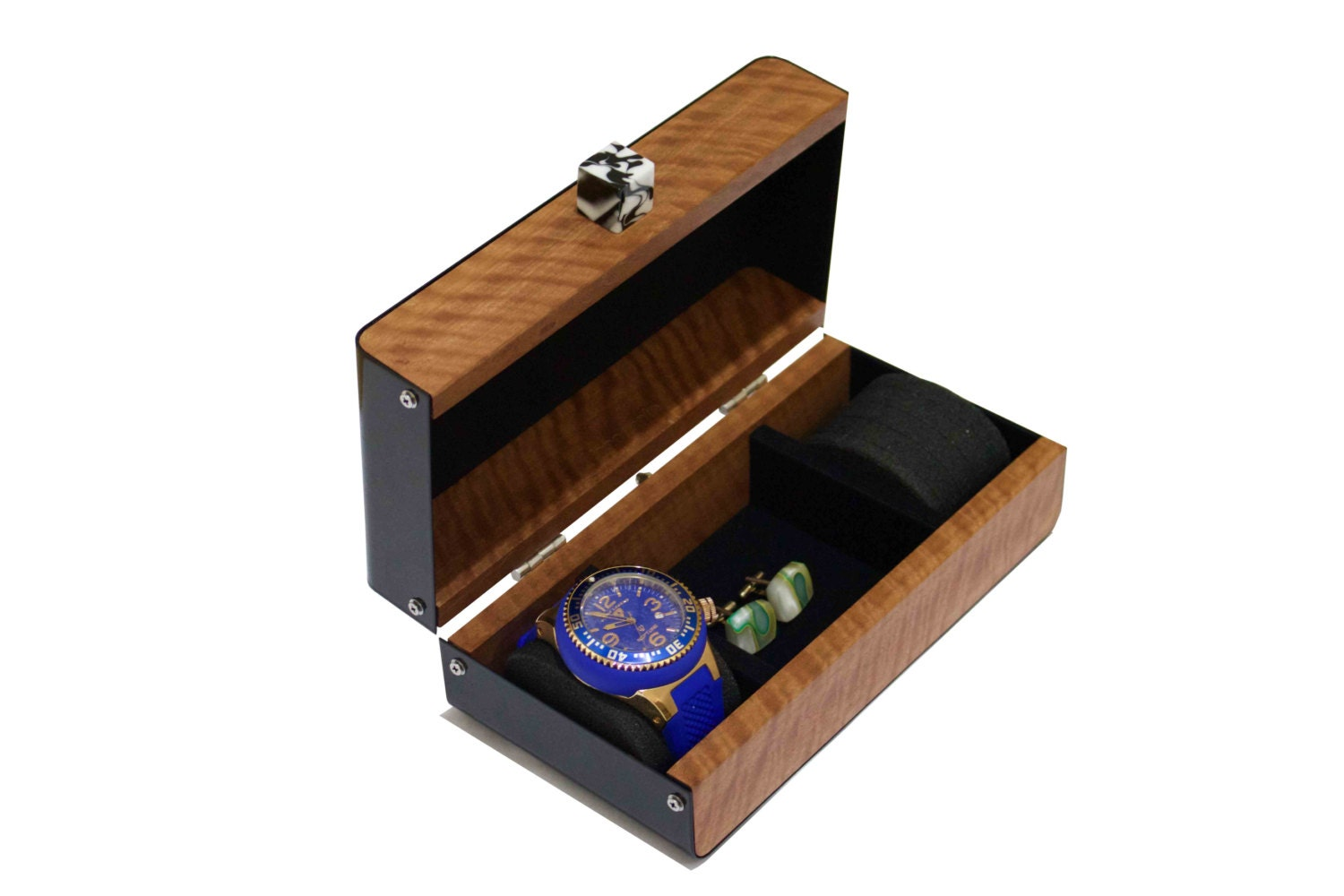 Anniversary gift mens watches box 2 watch pillows cufflinks for Men s jewelry box for watches and cufflinks