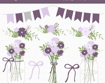 Mason Jar Flowers in Purple Digital Art Set Clipart Commercial Use Clip Art INSTANT DOWNLOAD Wedding Flowers Floral Clipart