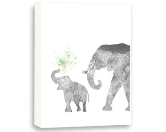 Elephant Art, Kids painting, Watercolor Wall Art, Art For Kids, Limited Edition Gallery Wrapped Canvas - AS20002C