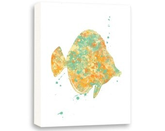 Fish Art, Watercolor Wall Art, Bathroom Decor, Limited Edition Gallery Wrapped Canvas - NS5001C