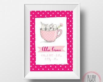 Custom bunny name print, wall print, baby, wall art, custom name print, girls print, bunnies, kids, birth print, rabbit, baby gift, nursery