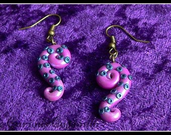 Pink Tentacle Earrings - Cthulhu Earrings - Kraken Earrings - Steampunk Earrings - Lovecraft Earrings - Cthulhu Jewellery - Cthulhu Jewelry