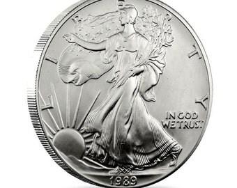 1989 Walking Liberty US 1 Oz Silver Coin Free USA Shipping