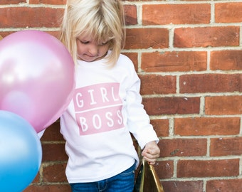 Girl Boss Toddler Graphic Tees | Cool T Shirts | Hipster Kids Clothes | Slogan TShirt | Pink LS Girl Boss