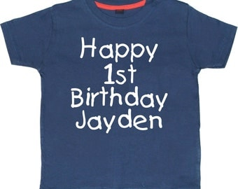 PERSONALISED Happy 1st Birthday with name Boys and Girls T-shirt