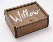 Personalized Wooden Slide Top Box, SMALL