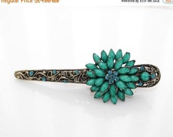 New Woman's Green Large flower rhinestone alligator long metal hair clip