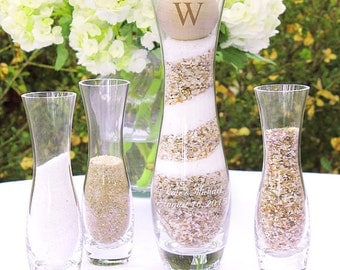 Rustic Personalized Glass Unity Wedding Sand Ceremony Set