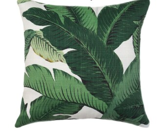 Dark Green INDOOR LINEN Tropical Jungle Pillow Cover, Large Leaves Zippered Throw Pillow, Dark Green Banana Leaf Pillow, Swaying Palms Aloe