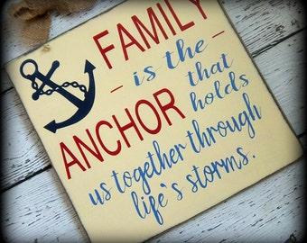 Rustic Nautical Art, Coastal Decor, Beach Theme Sign, Housewarming Gift, Wood Beach Art, Hand Painted Sign,Handmade Wooden Sign,Anchor Decor
