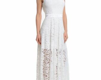 Wedding White Lace Dress.Beautiful long Open Back Evening dress