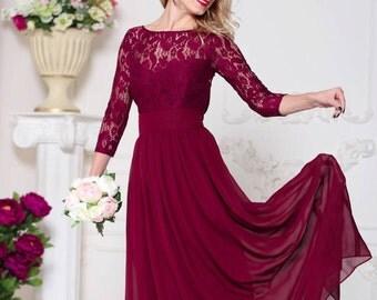 Bridesmaid Marsala Dress Lace Burgundy Wedding Dress Formal Dress Marsala Marsala Maxi Prom Dress