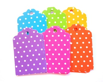 Polka dot Gift tags cardstock gift tags colorful gift tags scrapbook supply paper tags die cut tags small paper tags small gift tags