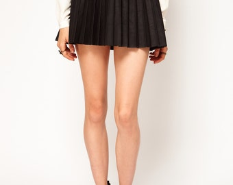leather pleat skirt