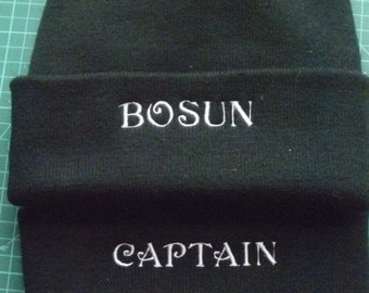 Pirate Beanie  Captain Boson Custom Embroidered