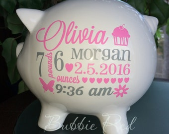Personalized Piggy Bank, Baby Girl Piggy Bank,  Baby Girl Gift, Piggy Bank,  Custom Piggy Bank, Piggy Bank for Girls