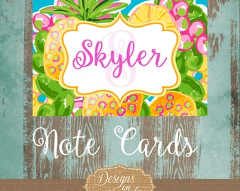 Preppy Tropical Notecard, Stationery, Personalized Notes