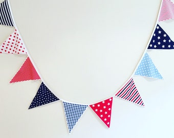 Stars Stripes Check Bunting Flags Red Blue Baby Boy Nursery Decor Boys Room Party Decor