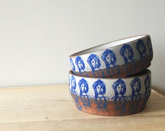 Small Ceramic Lady-Print Bowl