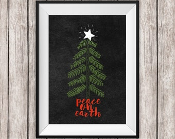 Holiday Printable Art Peace On Earth Print Christmas Tree and Star Holidays Home Decor Christmas Wall Art Instant Download Digital File