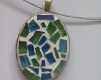 Mosaic Glass Pendant Necklace - Free Shipping
