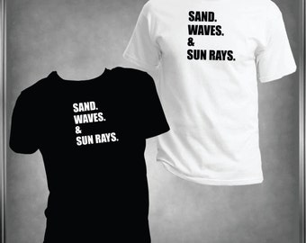 Sand, Waves And Sun Rays T -Shirt Ladies or Men's, All Adult Sizes XSmall to 6XLarge