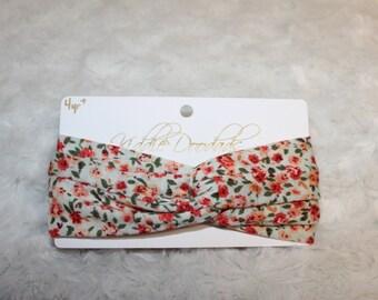 4Y+ Cream Floral Turban