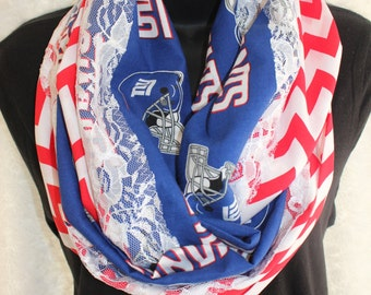 NY Giants Infinity Scarf with Lace