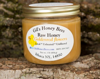 Raw honey from goldenrod flowers, unheated, and unfiltered.  1 lb jar.  Goldenrod honey, all natural, from the Finger Lakes, NY