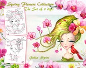 Set of 3 Digital Stamps, Crafting, Stamp Sets, Orchids, Geisha  and Sherry Blossom, Spring Flowers, Spring. The  Spring Flowers Collection.